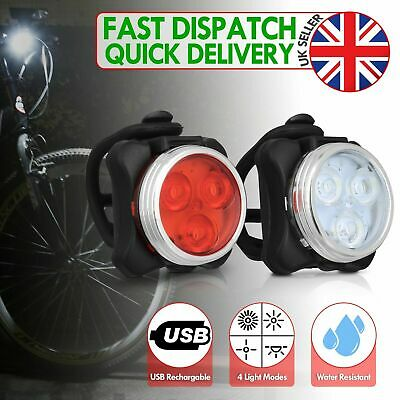 Bike Lights Mountain Cycle Bicycle Cycling Front Light Set Rechargeable USB LED • 4.99£