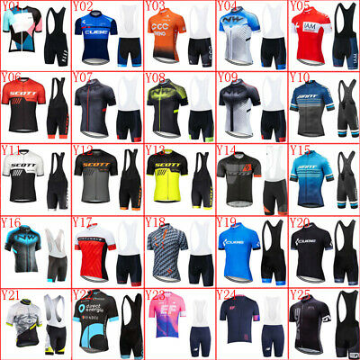 Men Cycling Jersey Bib Shorts Set Short Sleeve Bicycle Outfits Team Bike Clothes • 18.59£