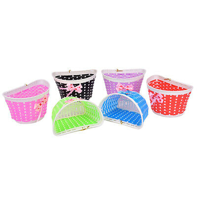 1pc Bicycle Basket Children Bike Plastic Knitted Bow Knot Front Handmade Bag P1 • 5.07£