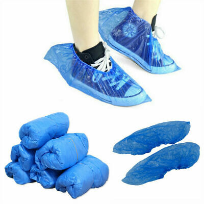 100 500 Disposable Shoe Cover Blue Anti Slip Plastic Cleaning Overshoes Boot UK • 35.89£