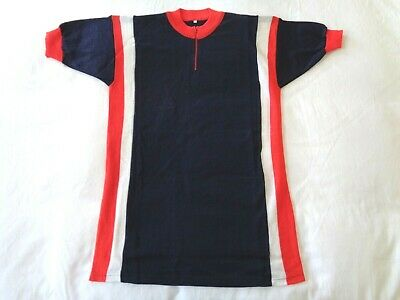 *NOS Vintage 1970s Italian Wool Cycle Jersey (blue/white/red) Large* • 45£
