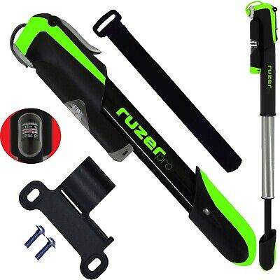 Bike Pump Alloy 7  Metal Compact With GUAGE Telescopic 140 PSI PRESTA SCHRADER • 15.95£