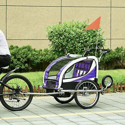2 In 1 Bicycle Children Trailer Baby Stroller 2 Seater Carrier Jogger • 151.99£