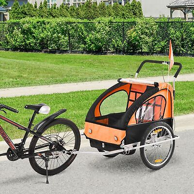 2-in-1 Child Bicycle Trailer 2 Seater Baby Stroller Carrier Jogger • 104.99£