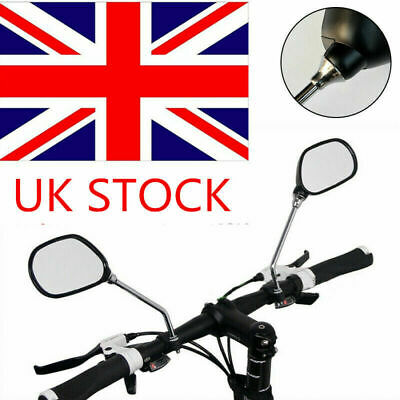 2PCS Bicycle Bike Cycling Handlebar Rear View Rearview Mirror Rectangle Back UK • 6.99£
