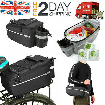 Insulated Trunk Cooler Bag Bicycle Rear Rack Bags Reflective Bike Pannier C2A5 • 12.69£