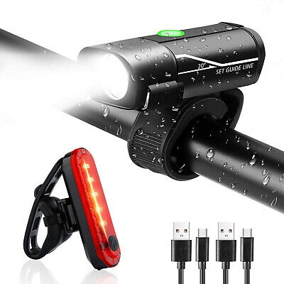 Bright LED Bicycle Bike Front Headlight USB Rechargeable+Rear Tail Light Set New • 12.49£