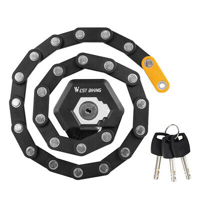 Foldable Anti Theft Lock Security Chain For Bike Bicycle Motorcycle With 3 Keys • 14.99£