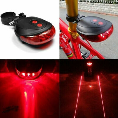5 LED 2 Laser Bicycle Cycle Bike Red Beam Rear Lights Back Tail Lamp Light  • 3.25£