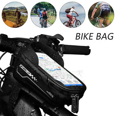 Waterproof MTB Mountain Bicycle Frame Front Cycling Bag Bike Mobile Phone Holder • 12.99£