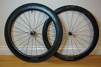 Hunt Carbon Aero 55 Wide Tubeless Clincher Wheelset, Shimano 11 Speed (Not 50) • 599£
