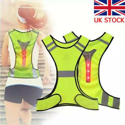 New Hi Viz Reflective Cycling Running Vest With LED Lights Mens/Womens Safety • 9.99£
