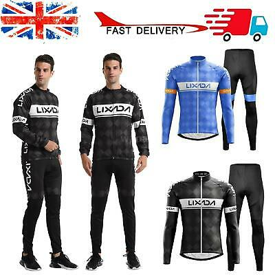 Cycling Clothing Set Windproof Long Sleeve Jersey Jacket 3D Padded Pants A9V4 • 32.39£