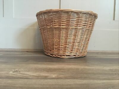Wicker Bike Basket With Adjustable Brown Leather Strap • 6.50£