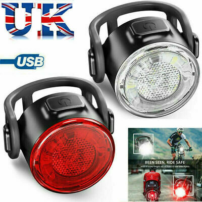 LED Mountain Bike Bicycle Front + Rear Lights Set USB Rechargeable Waterproof UK • 6.99£