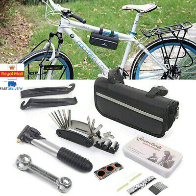 Bike Cycle Bicycle Frame Tool Puncture Repair Kit Carry Case Bag With Pump Set • 8.99£