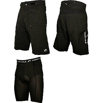 More Mile 2 In 1 Cycling Shorts Padded Baggy Bike Short Black • 22.99£