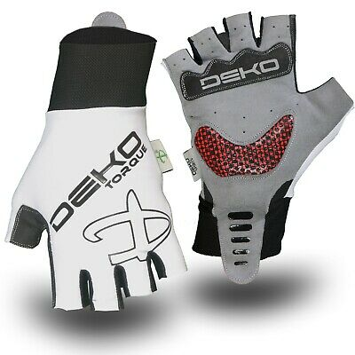 Primacy Fingerless Cycling Glove / Padded Bike Track Mitt In White / Black • 5.99£