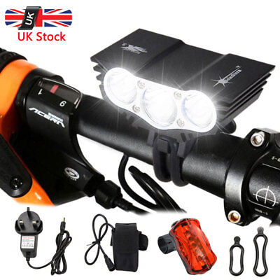 LED Mountain Bike Lights Bicycle Torch Front Rear Lamp 18650 Rechargeable • 16.89£