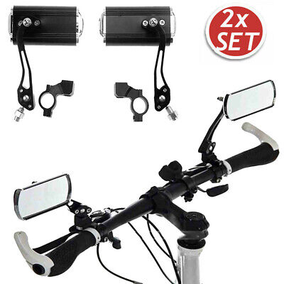 1 Pair Bicycle Bike Cycling Handlebar Rear View Rearview Mirror Rectangle Back • 10.43£