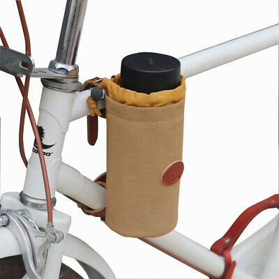 TOURBON Canvas&Leather Bicycle Pouch Bike Cup Holder For Water Bottle, Phone UK • 18.99£