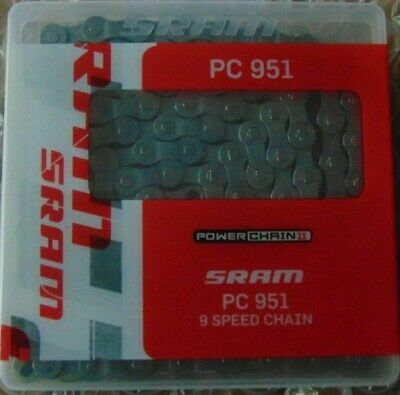 SRAM PC951 PowerChain II 9 Speed MTB Chain Bicycle Cycle Incl Gold Link Boxed • 15.99£