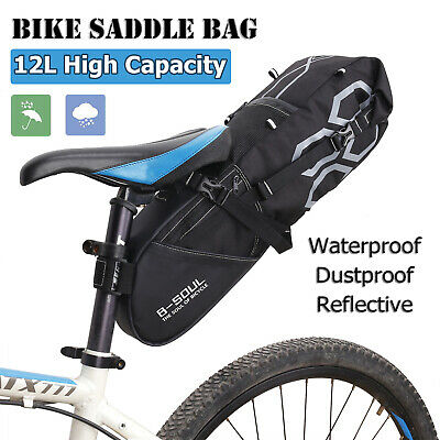 Bicycle Saddle Bag 12L Large Capacity Bike Pouch Seat Bag For Riding Waterproof • 16.98£