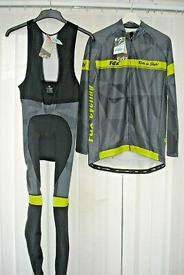 Fdx Cycling Top And Legging Grey / Yellow Size L • 24.99£