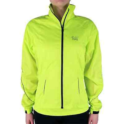 Traks Everley Womens Cycling Jacket Yellow Full Zip Reflective Commuting Shell • 12.99£