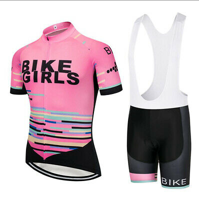 Pink Colour Women Cycling Jersey Set Shor Sleeve Female Cycling Jersey And Short • 28.80£