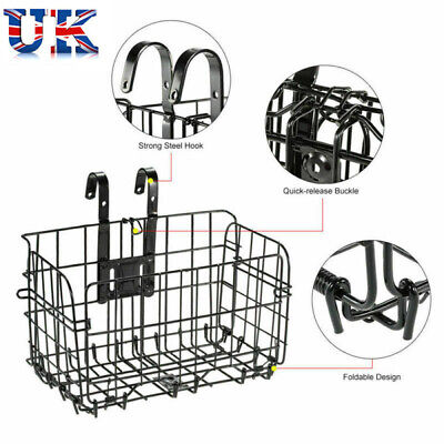 Bike Basket Front Bicycle Cycle Folded Metal Shopping Holder Pet Rear Carrier • 12.89£