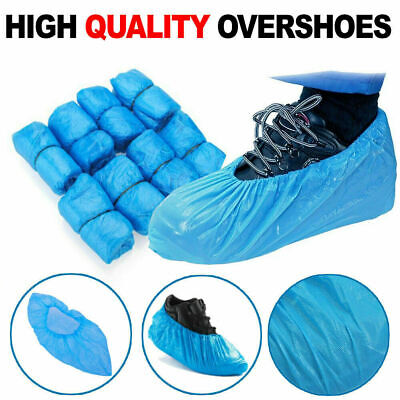 100x Disposable Shoe Cover Blue Anti Slip Plastic Cleaning Overshoes Boot Safety • 5.99£