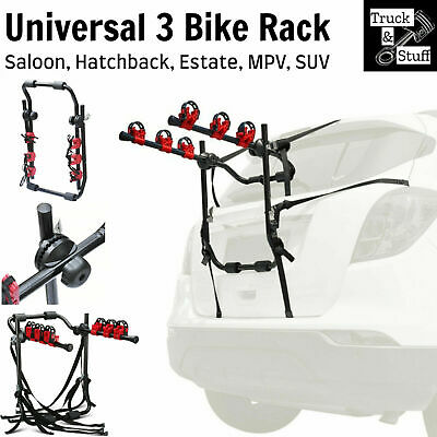 3 Bike Rack Cycle Bicycle Mountain W/ Strap Car Carrier Universal Fitting Estate • 36.80£