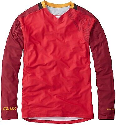 Madison Flux Enduro Long Sleeve Mens Cycling Jersey Red Ventilated Bike Ride Top • 22.99£