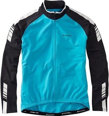 Madison Peloton Thermal Long Sleeve Mens Cycling Jersey - Blue • 27.99£