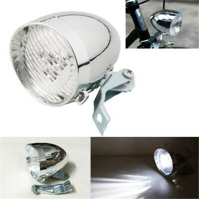 3 LED Retro Front Tail Lamp Bicycle Bike Chrome. Visor Headlamp Headlight UK • 5.79£