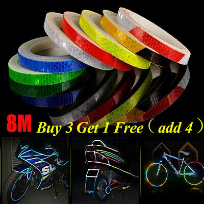 Reflective Tape Safety Stickers Hi Vis Safety Warning Self-Adhesive Reflector 8M • 2.64£