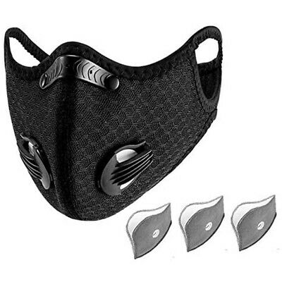 RockBros Outdoor Sports Cycling Scarf Neck Face Mask With Filter Black  UK HOT • 4.99£