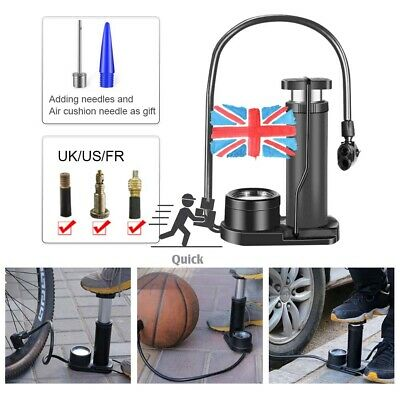 Alloy Body Mountain Bike Foot Floor Pump With Gauge160 PSI Fits Presta Schrader • 9.87£