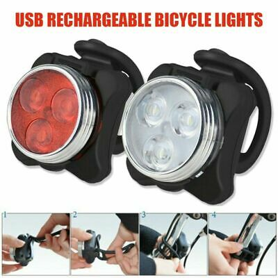 Bike Light Set, Super Bright USB RECHARGEABLE Bicycle Lights, Waterproof Boxed • 6.95£