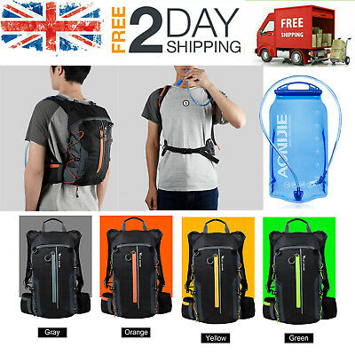 Cycling Backpack Camping Hiking Bike Rucksack Bag With 1.5/3L Water Bladder Q8Z2 • 8.99£