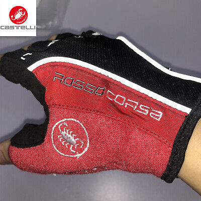 Castelli Gloves Rosso Corsa Classic HALF FINGER Cycling Bicycle Gloves • 9.86£