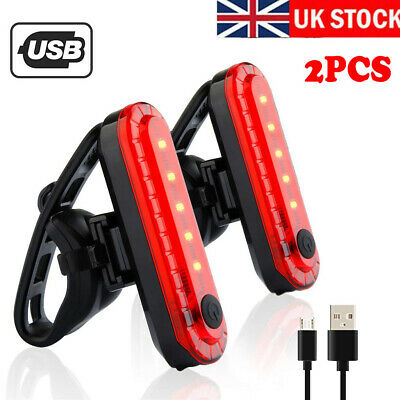 2PC USB Rechargeable Bike Bicycle Cycling 4 Modes LED Front Rear Tail Light Lamp • 6.49£