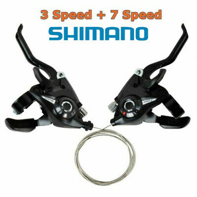 2Pcs Bicycle Mountain Bike Brake Gear Shifters Lever Transmission 3 + 7 Speed • 10£