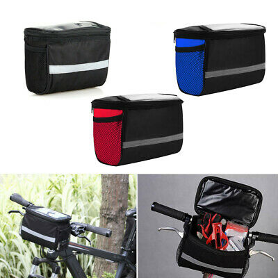 Bicycle Handlebar Basket Bag Bike Front Pannier Tube Waterproof Storage Box • 4.99£
