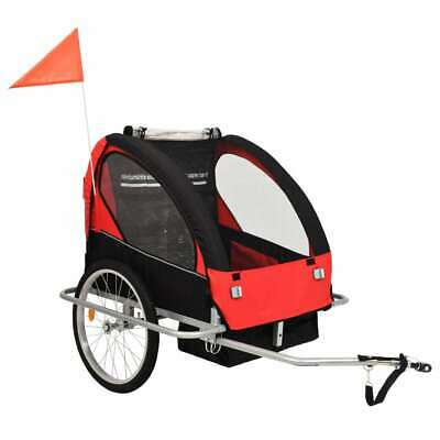 VidaXL 2-in-1 Kids' Bicycle Trailer & Stroller Black And Red Children Jogger • 166.99£