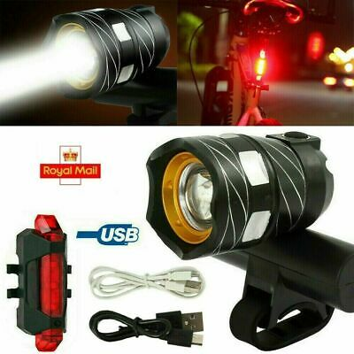 Rechargeable LED Mountain Bike Lights 15000LM Bicycle Torch Front &Rear Lamp Set • 10.99£
