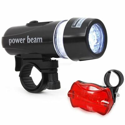 Waterproof Bright 5 LED Bike Bicycle Cycle Front And Rear Back Tail Light Lights • 7.99£
