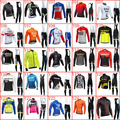 Men Cycling Jersey Set 2020 Bike Long Sleeve Shirt Bib Pants Suit Sports Uniform • 35£