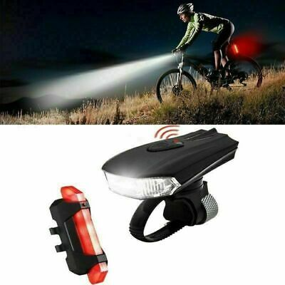 MTB Bike Bicycle Cycling USB Rechargeable LED Head Front Light Rear Tail Lamp N • 10.99£